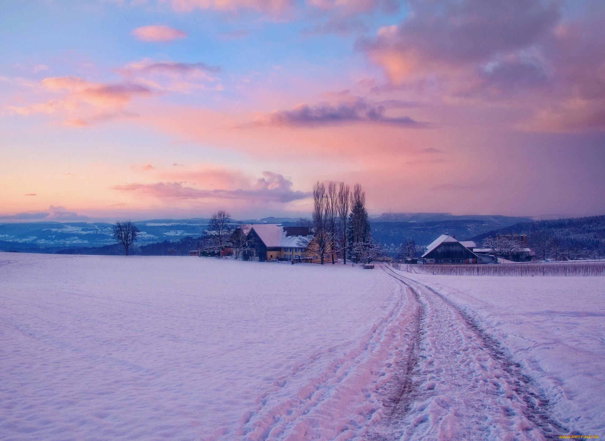 Картинка на рабочий стол деревня зима